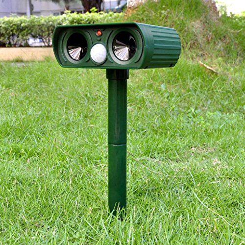 Mole Repellent Ultrasonic Outdoor Solar Power Animal Repeller Cats, Dogs, Mice, Snakes, Foxes, Moles, Birds and Other Animals (Green) by TLT Retail