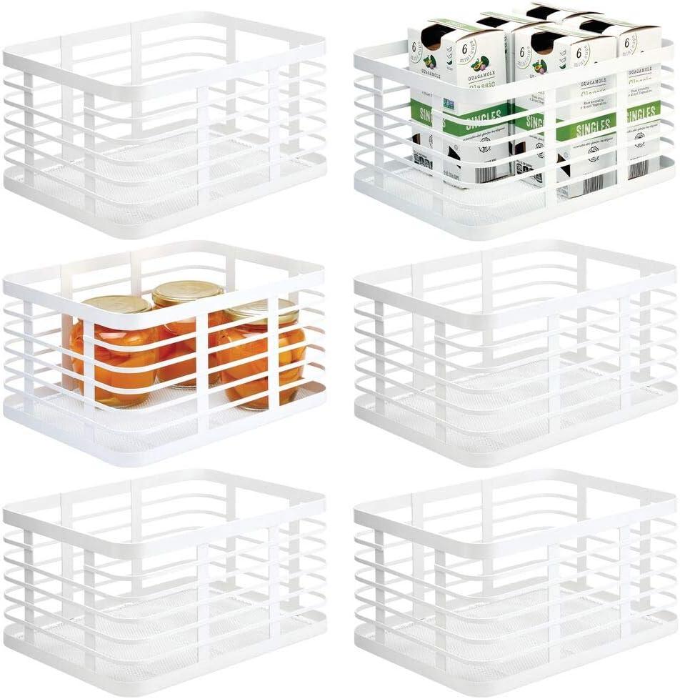 mDesign Modern Decor Metal Wire Food Organizer Storage Bin Basket for Kitchen Cabinets, Pantry, Bathroom, Laundry Room, Closets, Garage, 6 Pack - White