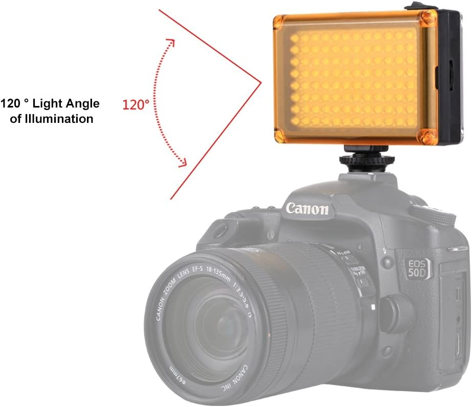 Nikon DSLR Cameras PhotoLight YHM PULUZ Pocket 96 LEDs 860LM Professional Photography Video /& Photo Studio Light with White and Orange Magnet Filters Light Panel for Canon
