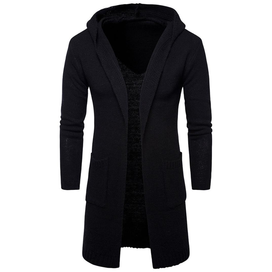 ManxiVoo Knit Sweater, Mens Slim Fit Hooded Knit Cardigan Sweater Fashion Cardigan Long Trench Coat Jacket (XXL, Black)