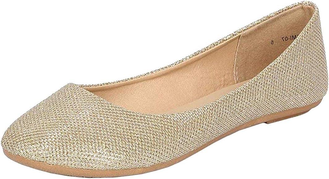 Amazon.com   REFRESH Women's Shiny Glitter Ballet Flats Gold 8.5 M US    Flats