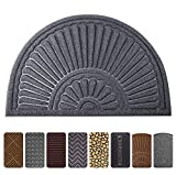 Mibao Durable Rubber Doormat, 24''x 36'' Large Half Round Low-Profile Waterproof, Non Slip, Easy Clean, Washable Indoor/Outdoor Mats for Entrance