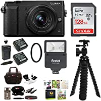 Panasonic Lumix GX85 Mirrorless Camera w/ 12-32mm Lens (Black) & 128GB SD Bundle