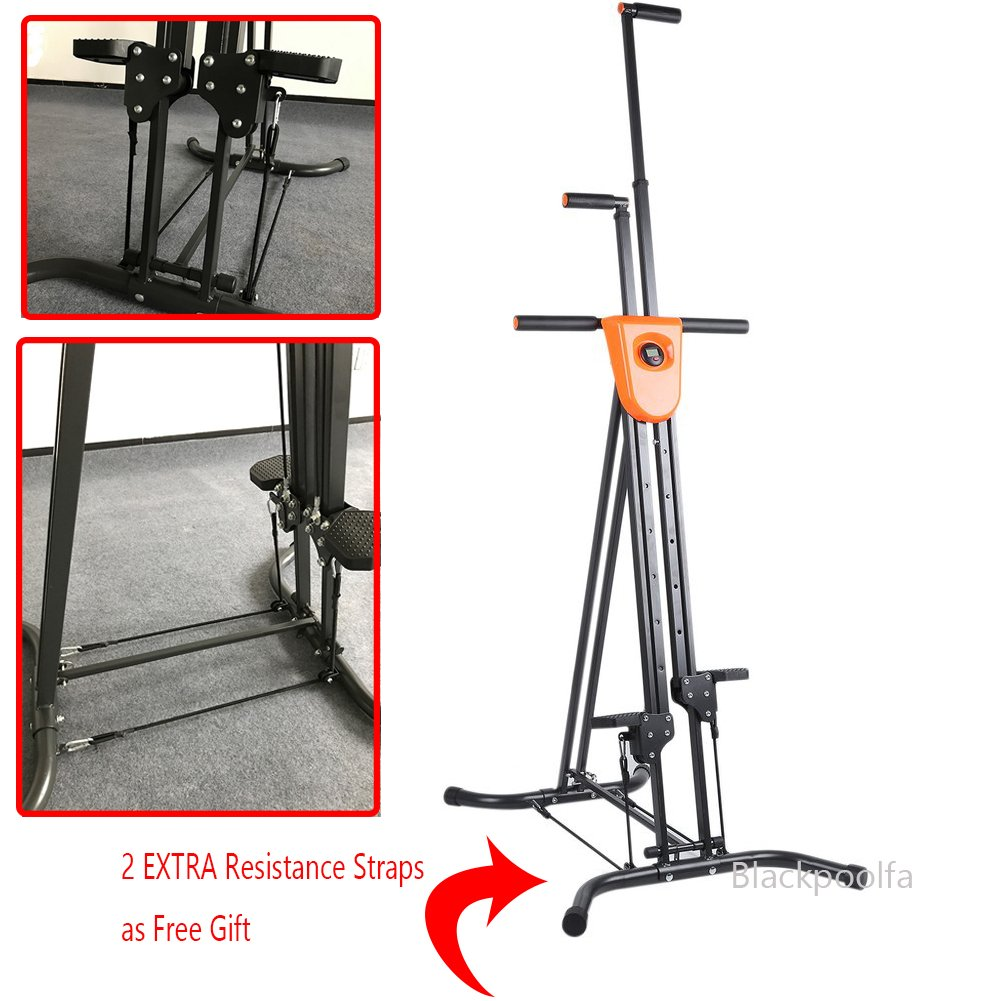Vertical Climber with Cast Iron Frame and Digital Display As Seen On TV | Full Total Body Workout Fitness Folding Cardio Climber Exercise Machine (2 Extra Resistance Straps Included)