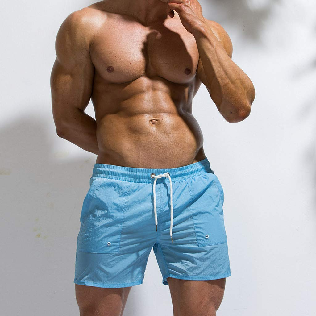 Irene Beach Surf Pants Fashion Mens Big Pocket Elastic Waistband Line Belt Light