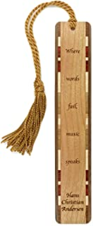 product image for Hans Christian Andersen Music Speaks Quote Engraved Wooden Bookmark with Tassel - Search B0798WNBMN for Personalized Version