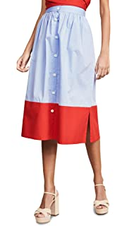 b2b671c88 MDS Stripes Women's Tiered Button Front Skirt at Amazon Women's ...