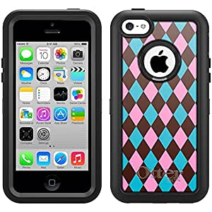 Skin Decal for Otterbox Defender iPhone 5C Case - Plaid Blue Pink Brown
