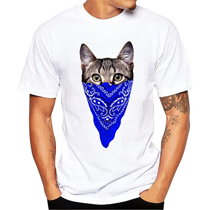 K-youth Camiseta Hombre, Gatos Ninja Impresión Camiseta para Hombre tee Cuello Redondo Tops Camisa Ropa Hombre Deportiva 2018 Ofertas