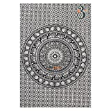 Black and White Twin Tapestry Hippie Wall Hanging Art Decor Single Mandala Tapestry Hippie Dorm 84X55 inches by Aakriti Gallery (Black White)