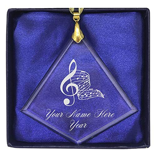 LaserGram Christmas Ornament, Musical Notes, Personalized Engraving Included (Diamond Shape)