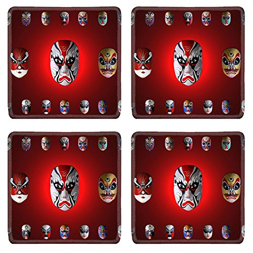MSD Natural Rubber Square Coasters IMAGE ID: 11916911 mask of chinese traditional (Chinese Ancient Costume Drama)