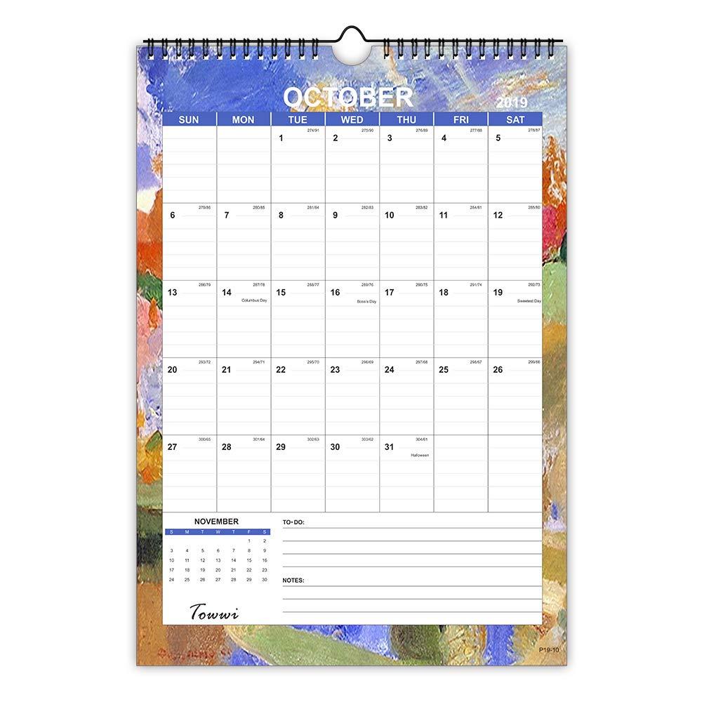 "TOWWI 2019- December 2020 Monthly Wall Calendar, 17"" x 12 "" Colorful Calendar Planner, Wirebound"