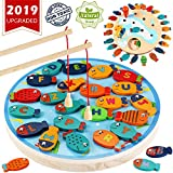 CozyBomB Magnetic Wooden Fishing Game Toy for Toddlers Alphabet Fish Catching Counting Board Games Toys for 2 3 4 Year Old Girl Boy Kids Birthday Learning Education Math with Magnet Poles