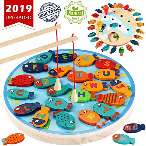 CozyBomB Magnetic Wooden Fishing Game Toy for Toddlers - Alphabet Fish Catching Counting Preschool Board Games Toys for 2 3 4 Year Old Girl Boy Kids Birthday Learning Education Math with Magnet Poles