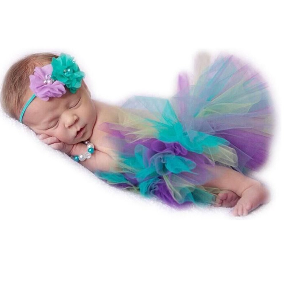 Newborn Baby Photo Shoot Props Girl Boy Lovely Costume Rainbow TuTu Dress Flower Headband Photography Props