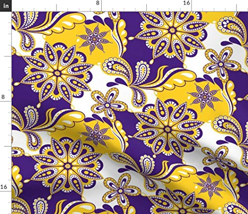 Spoonflower University Fabric - Tigers Louisiana Paisley Mandala Pirates East Carolina Print on Fabric by The Yard - Petal Signature Cotton for Sewing Quilting Apparel Crafts Decor