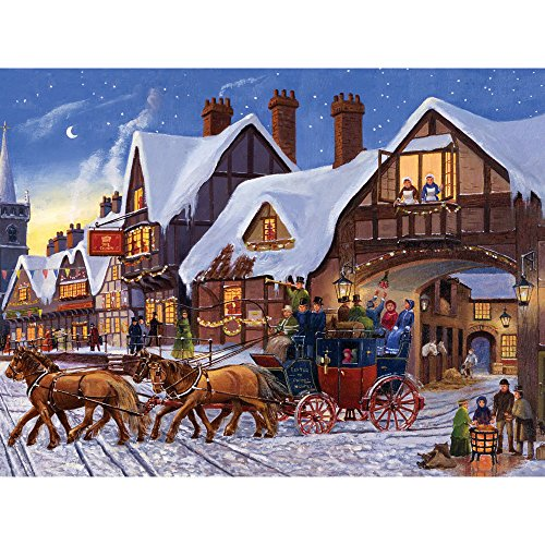 Bits and Pieces - 300 Piece Jigsaw Puzzle for Adults - Christmas Eve Express - 300 pc Winter Holiday Horse Jigsaw by Artist Finlay