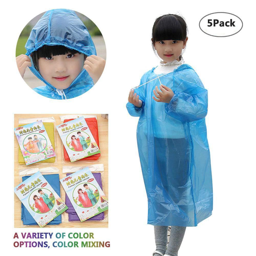 Leegoal Rain Ponchos Emergency Disposable Raincoat with Hat /& Drawstring Hood for Kids,Combo Unisex Waterproof Rain Ponchos for School Camping Traveling Fishing Random Color,1//5//10 PCS