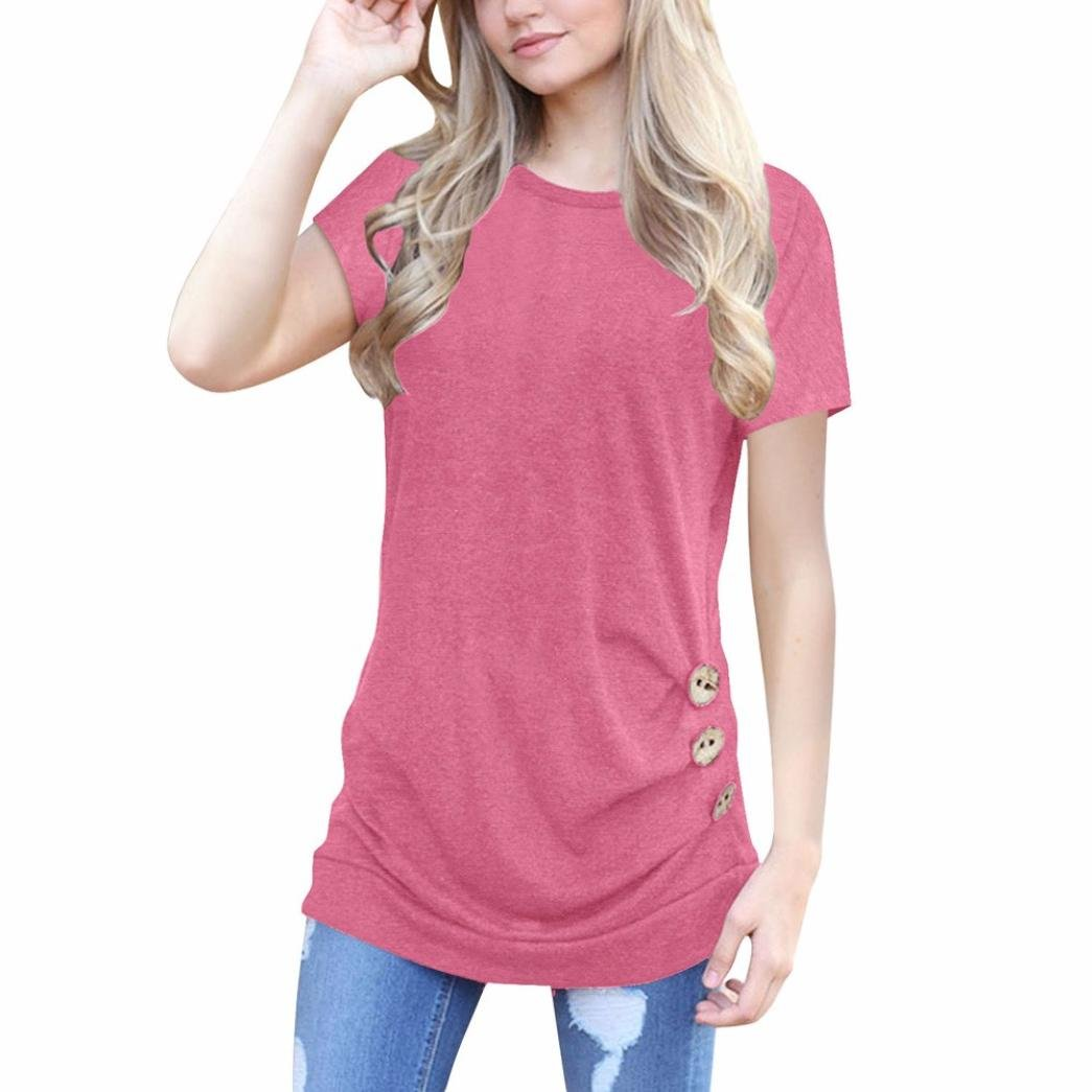 SanCanSn Mother's Day Casual T-Shirt,Women Loose Button Trim Blouse Solid Color Round Neck Tunic Short Sleeve T-Shirt (L, Pink)