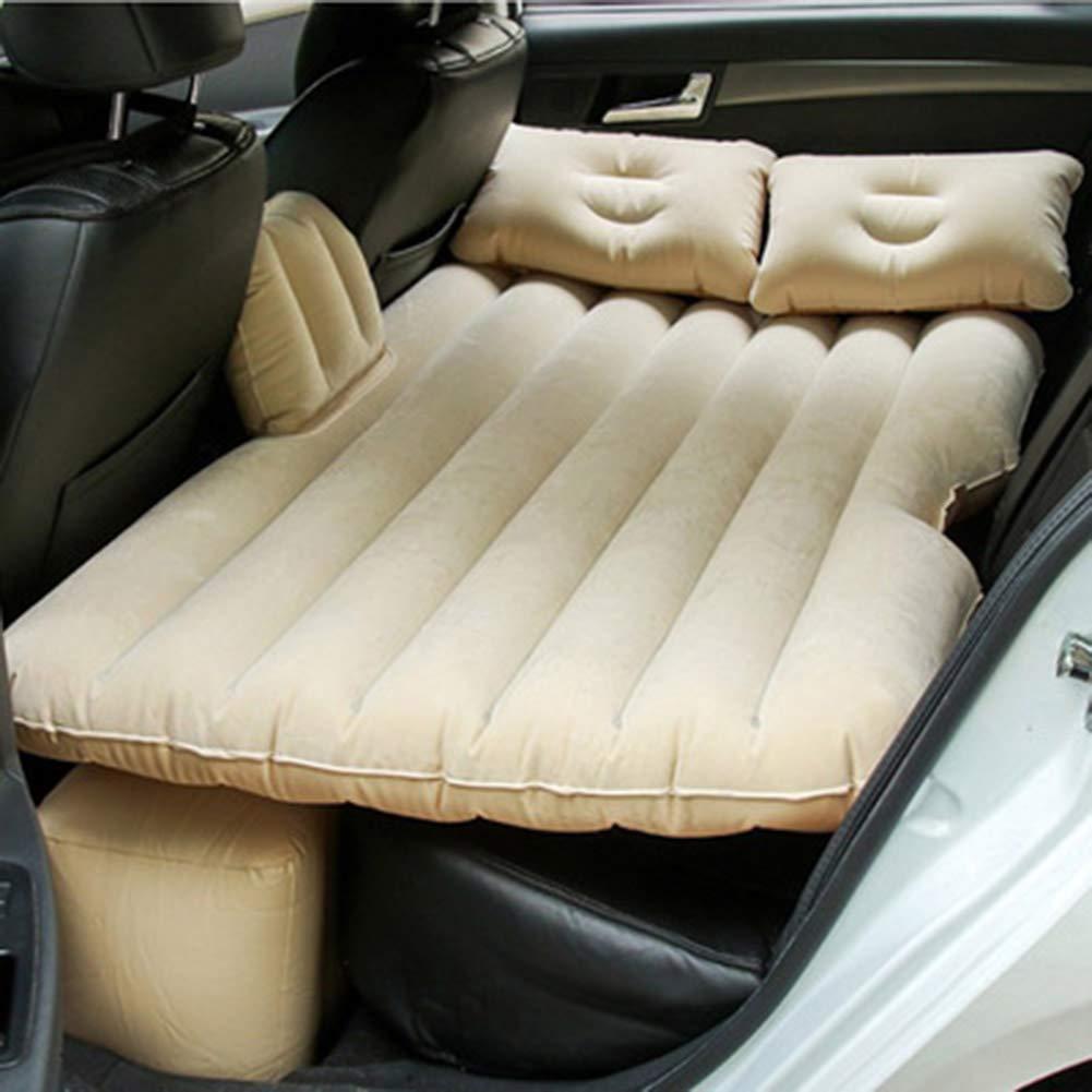 YXZN Auto Luft Bett Matratze mit Luftpumpe Im Freien Spielraum Aufblasbare Luftpolster-Freie Elektrische Luftpumpe Faltbar,Beige,135X82X50CM