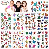 160Pcs Animal Zoo Temporary Kit Waterproof Fake Body Stickers Kids Lion Cartoon Tiger Cat Little Monster Butterflies Flowers Hearts with Transfer Paper for Safari Theme Birthday Party Favors Supplies
