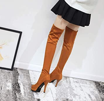 de4444cdb86 Amazon.com  Knee High Boots for Women Flat Suede Over Knee Boots Ladies  Thigh Boots Long High Winter Shoes Fashion Sexy Thigh Stretch High Heel   Sports   ...