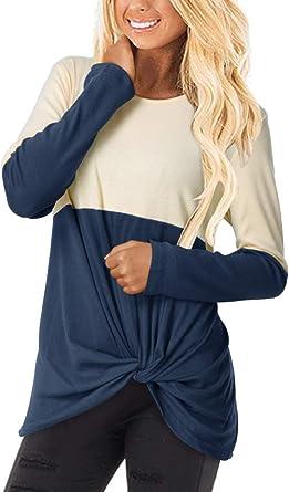 YOINS - Camiseta de manga larga para mujer de otoño con hombros descubiertos, de algodón, marca elegante, para oficina, estilo casual
