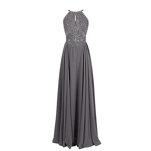 Dressystar Long Chiffon Prom Dress Spaghetti Straps Crystal Beaded Evening Gowns