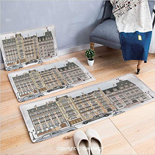 3 Piece Anti-Skid mat for Bathroom Rug Dining Room Home Bedroom,Paris City Decor,Illustration of Road Houses and Buildings on Both Sides Street Lamps Lamppost,16x24/18x53/20x59 - Paris Club Lamp Floor