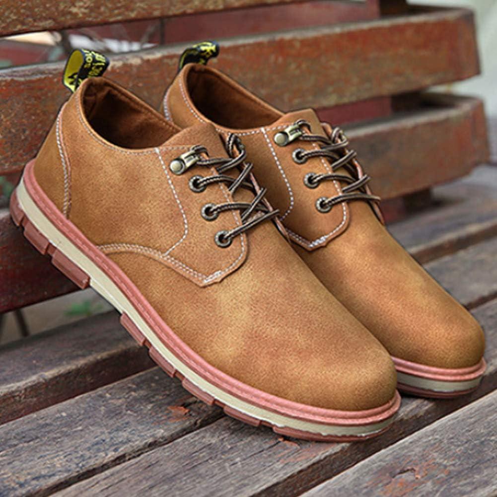 Gtagain Hombre Zapatos de Cuero Cordones Punta Redonda Ligero Confortable Retro Cl/ásico Casual Zapatos de Conducir