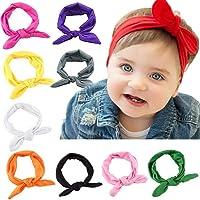 10 Piezas Diademas Bebé Niña,Bowknot Flores Cintas de Pelo Cabeza Elástica Turbante para Niñas Venda de Pelo Bebe…