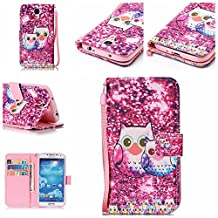 Samsung Galaxy S4 Case, Kmety Owl PU Synthetic Leather Wristlet Magnet Snap Wallet [Credit Card/Cash Slots] Kickstand Flip Case Cover for Samsung Galaxy S4