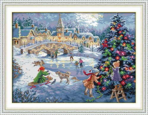Crossdecor Counted Cross Stitch Kits - DIY Arts Crafts Sewing Cross-Stitching Needlepoints Kit Embroidery 14 Count Fabric with Printed pattern, A Christmas Celebration -