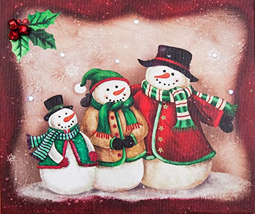 Christmas Snowman Pictures (Oak Street Christmas Snowman Family of 3 LED Canvas Picture with Timer (9x8x1 inches))