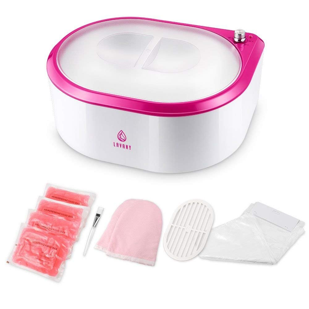 Lavany Paraffin Wax Warmer, Paraffin Wax Machine, Quick-Heating Paraffin Bath for Hands and Feet, Moisturize and Renew Skin with Paraffin Rose Wax (Pink)