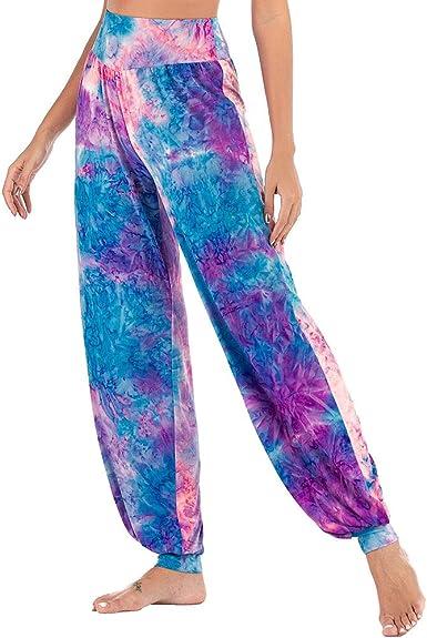 Nuofengkudu Mujer Tinte de Lazo Harem Hippie Yoga Pantalones ...