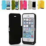 REALMAX® 4200mAh iPhone 5 5C 5S Power Bank Case Slim External Backup Battery Charger with Flip PU Leather Front Cover Built-in Stand ( Black )