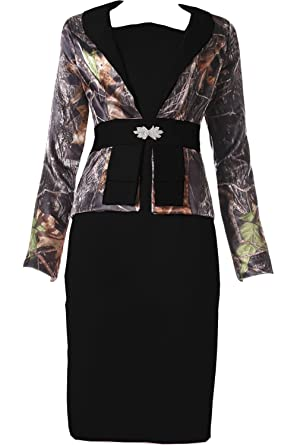 c6ea575ea7792 DINGZAN Knee Length Cocktail Mother of The Bride Dresses Camo with Long  Sleeves Jacket 2 Black