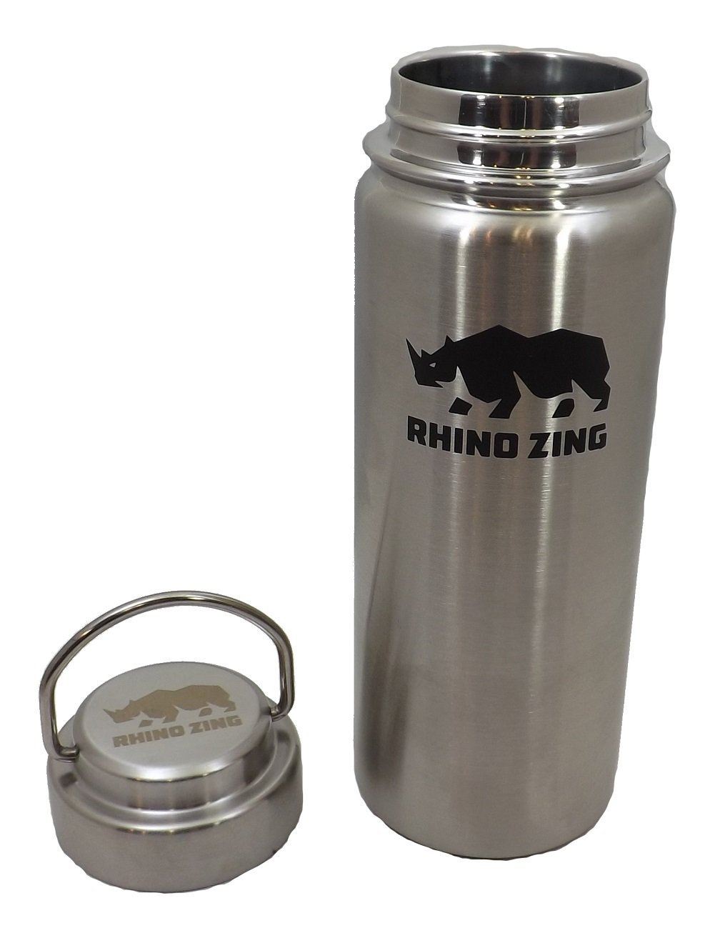 Rhino Zing 18-Ounce Beer Growler Stainless Steel Water Bottle with Stainless Steel Lid. Insulated, Wide Mouth by Rhino Zing (Image #4)