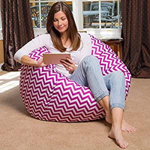 """Posh Bean Bag Chair for Children, Teens & Adults - 35"""", Pink and White"""