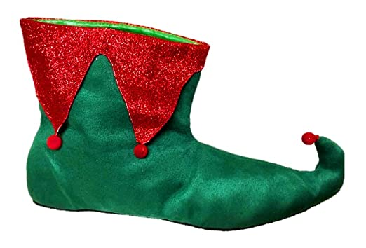 0cf782c5a828 Amazon.com  Santa s Helper Elf Shoes Adult Womens Christmas Red Green  Slippers SM-XL  Clothing