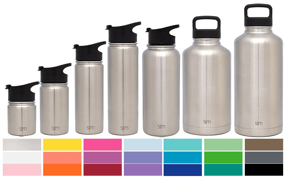Simple Modern 40 oz Summit Water Bottle - Stainless Steel Hydro Metal Flask +2 Lids - Wide Mouth Double Wall Vacuum Insulated Simple Stainless Reusable Large 1.5 Liter Cold Leakproof Thermos - Silver
