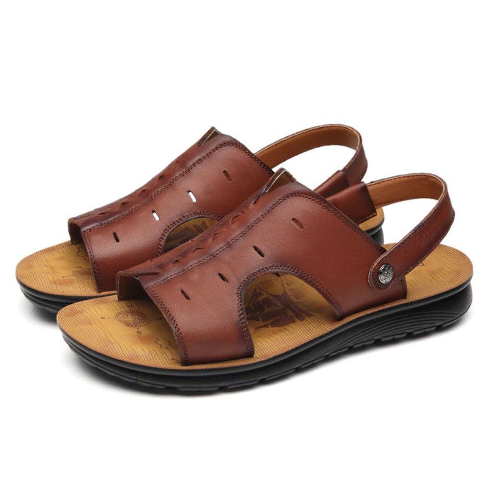 Echtes Leder Sandalen der Männer Beiläufige Zwei Koreanische Weiche Strand Schuhe Zwei Beiläufige Tragen Sandalen und Hausschuhe Braun a51b10