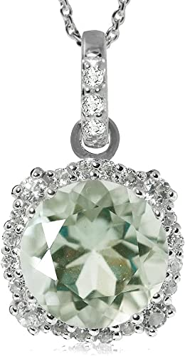 Topaz necklace with green amethyst oval faceted pendant topaz necklace with green amethyst oval faceted