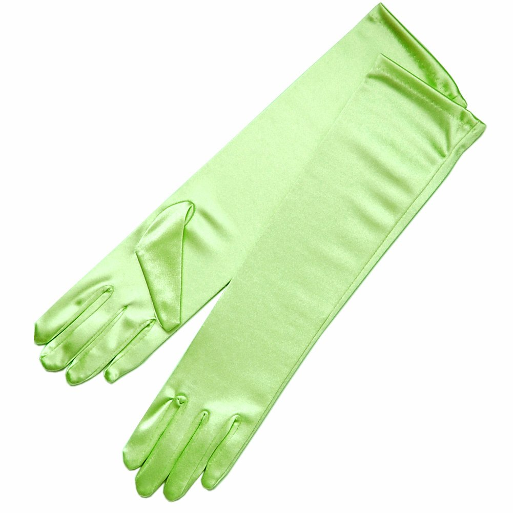 ZaZa Bridal 15.5'' Long Shiny Stretch Satin Dress Gloves Below-The-Elbow Length 8BL-Lime Green