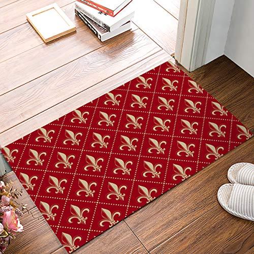 - Family Decor Fleur De Lis Iris Red Damask Pattern Door Mat Rugs, 20x31.5 Inch Indoor/Outdoor Non Slip Entrance Front Door Doormat for Bathroom/Kithchen/Bedroom/Living Room
