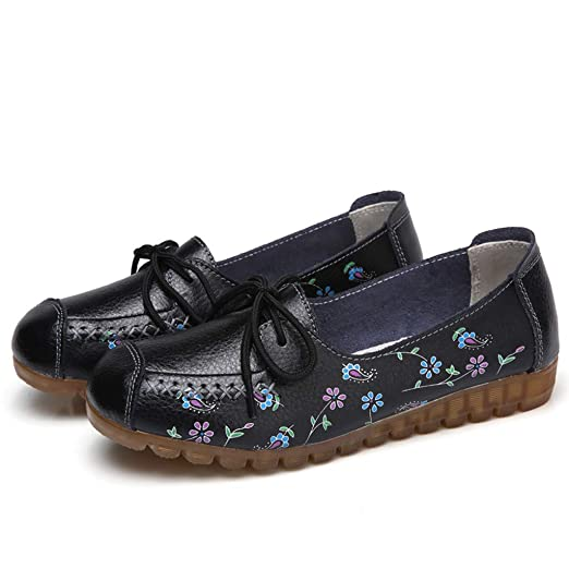 c06a3a59e1938 Amazon.com: Women's Flat Loafers Flower Printed Lace Up Slip On Boat ...