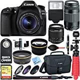 Canon EOS 80D CMOS DSLR Camera + EF-S 18-55mm IS STM & 75-300mm III Lens Kit + Accessory Bundle 64GB SDXC Memory + SLR Photo Bag + Wide Angle Lens + 2x Telephoto Lens + Flash + Remote + Tripod & More