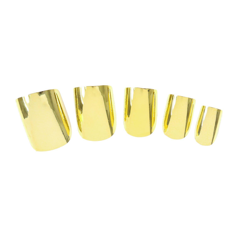 Claires-mujer-Pack De 24 uñas dorados, diseño metálico, color dorado: Amazon.es: Belleza
